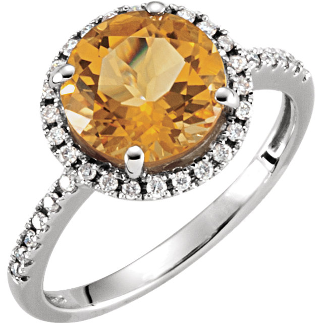 14KT White Gold Citrine & 1/6 Carat Total Weight Diamond Ring