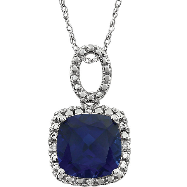 14KT White Gold Created Blue Sapphire & .03 Carat Total Weight Diamond 18