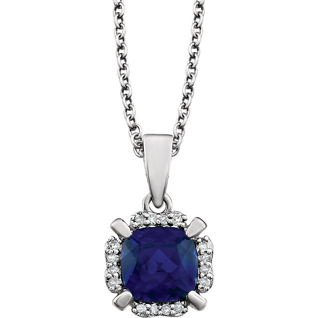14KT White Gold Created Blue Sapphire & .05 Carat Total Weight Diamond 18