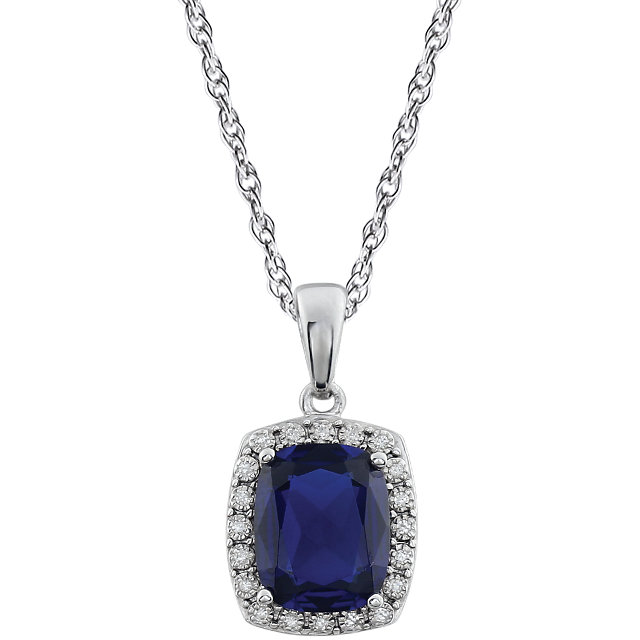 14KT White Gold Created Blue Sapphire & .05 Carat Total Weight Diamond Necklace