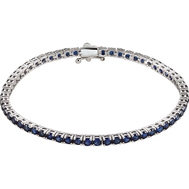 14KT White Gold Created Blue Sapphire Line 7.25