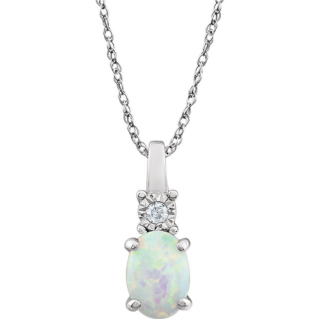 14KT White Gold Created Opal & .02 Carat Total Weight Diamond Necklace