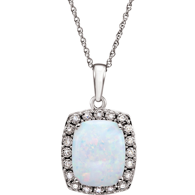14KT White Gold Created Opal & .05 Carat Total Weight Diamond Necklace
