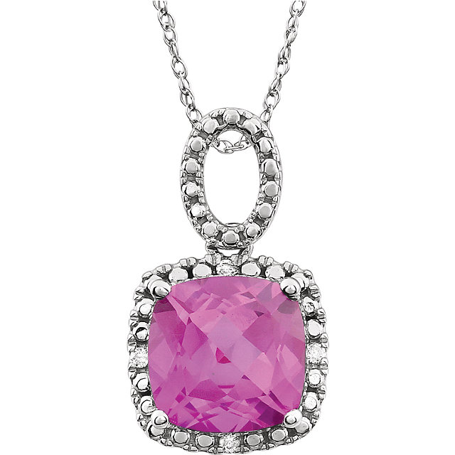 14KT White Gold Created Pink Sapphire & .03 Carat Total Weight Diamond 18
