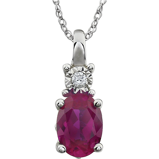 14KT White Gold Created Ruby & .02 Carat Total Weight 18
