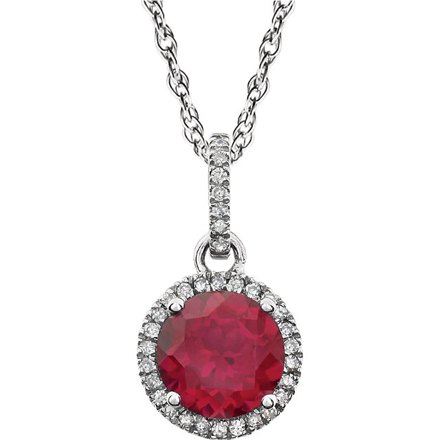 14KT White Gold Created Ruby & 1/10 Carat Total Weight Diamond 18
