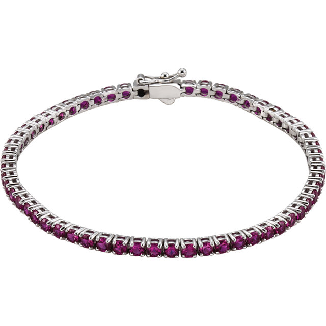 14KT White Gold Created Ruby Line 7.25