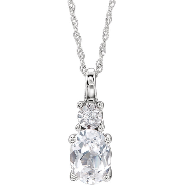 14KT White Gold Created White Sapphire & .02Carat Total Weight Diamond Necklace
