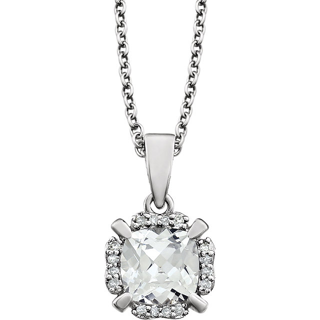 14KT White Gold Created White Sapphire & .05 Carat Total Weight Diamond 18