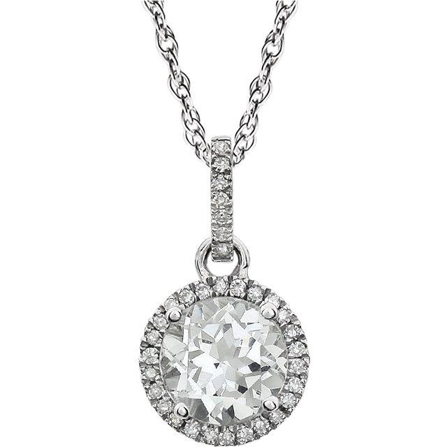 14KT White Gold Created White Sapphire & 1/10 Carat Total Weight Diamond 18