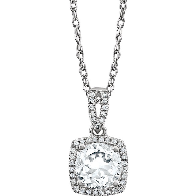 14KT White Gold Created White Sapphire & 1/8 Carat Total Weight Diamond 18