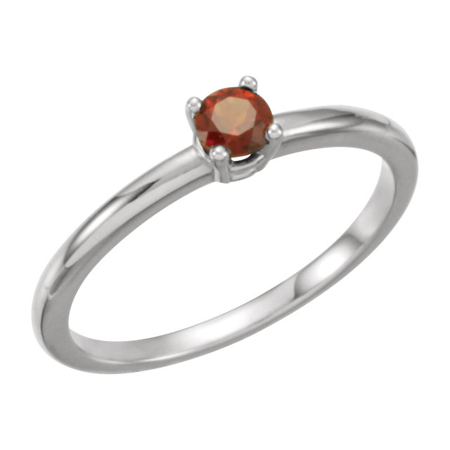 14KT White Gold Garnet Mozambique