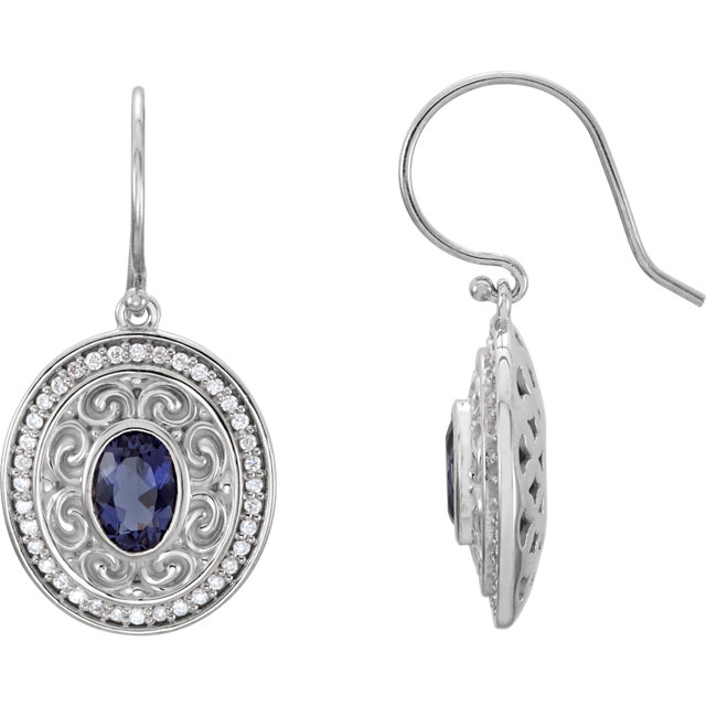 14KT White Gold Iolite & 1/3 Carat Total Weight Diamond Earrings