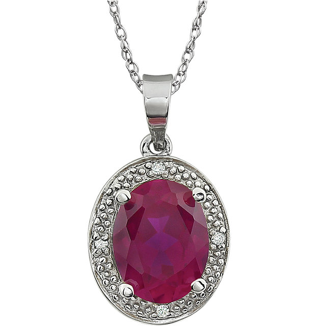 14KT White Gold Lab Created Ruby & .02 Carat Total Weight Diamond Necklace