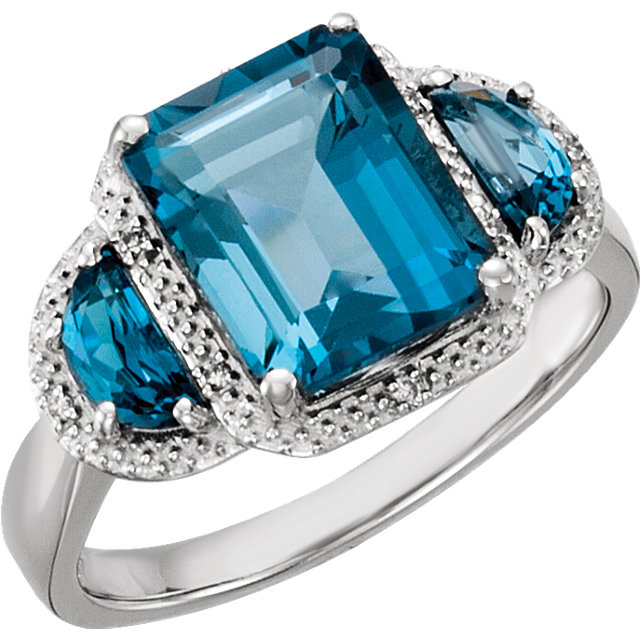 14KT White Gold London Blue Topaz & .03 Carat Total Weight Diamond Ring