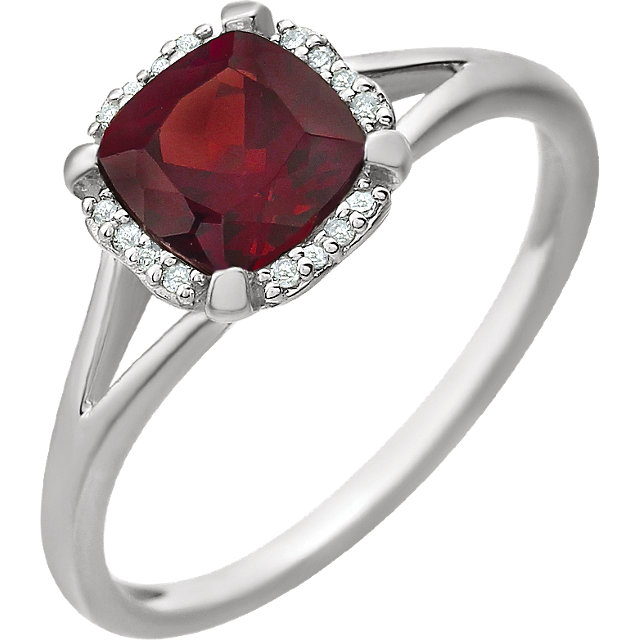 14KT White Gold Mozambique Garnet & .05 Carat Total Weight Diamond Ring
