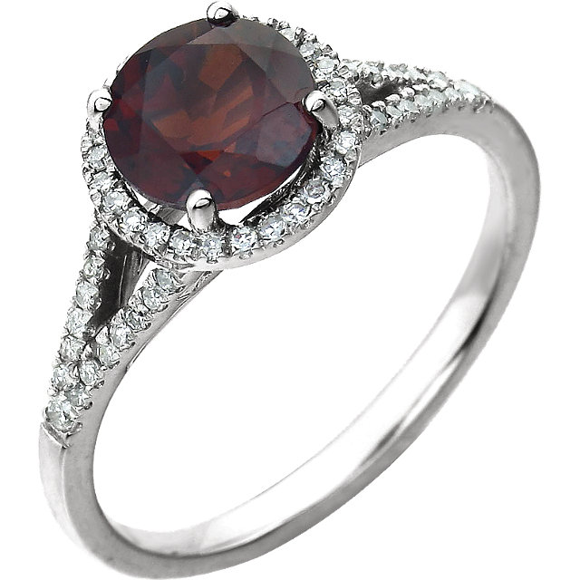 14KT White Gold Mozambique Garnet & 1/5 Carat Total Weight Diamond Ring
