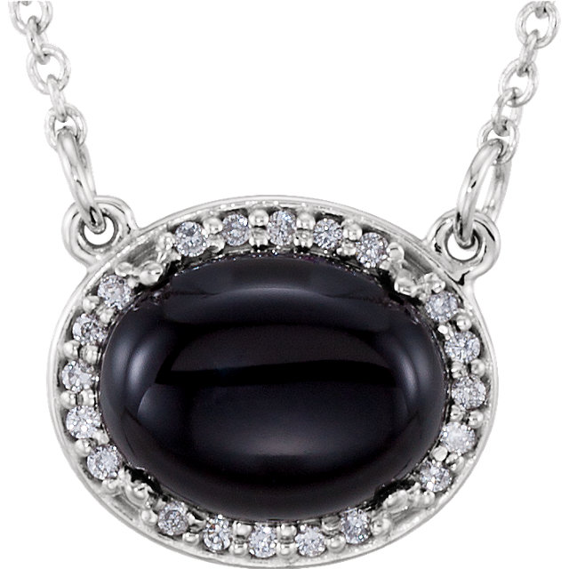 14KT White Gold Onyx & .05 Carat Total Weight Diamond Halo-Style 16