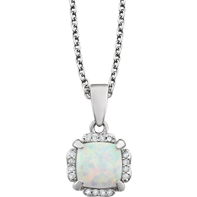 14KT White Gold Opal & .05 Carat Total Weight Diamond 18