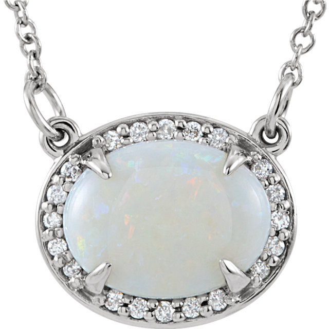 14KT White Gold Opal & .05 Carat Total Weight Diamond Halo-Style 16.5
