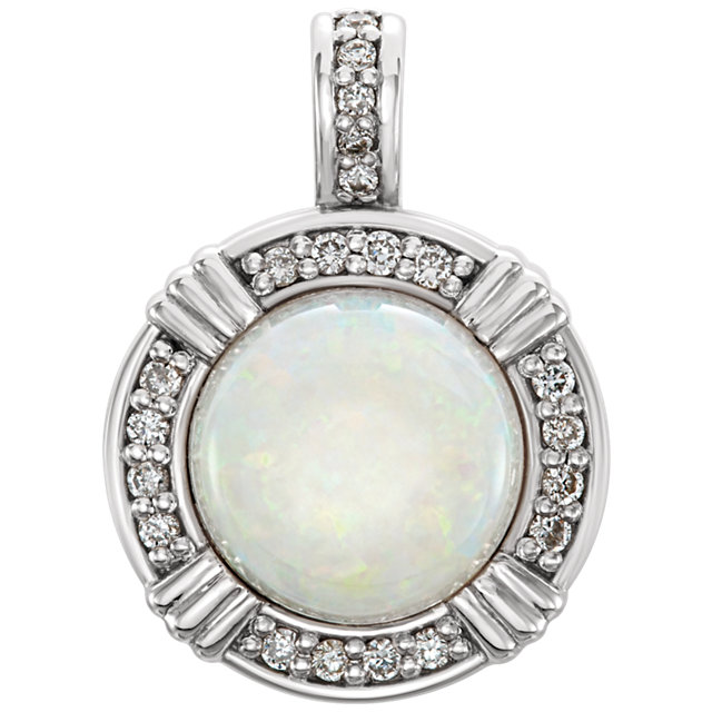 14KT White Gold Opal & 1/10 Carat Total Weight Diamond Pendant