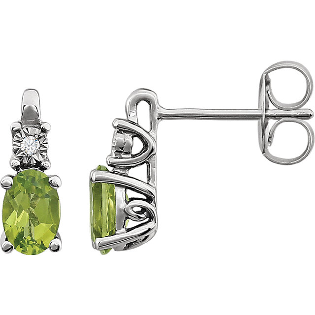 14KT White Gold Peridot & .02 Carat Total Weight Diamond Accented Earrings