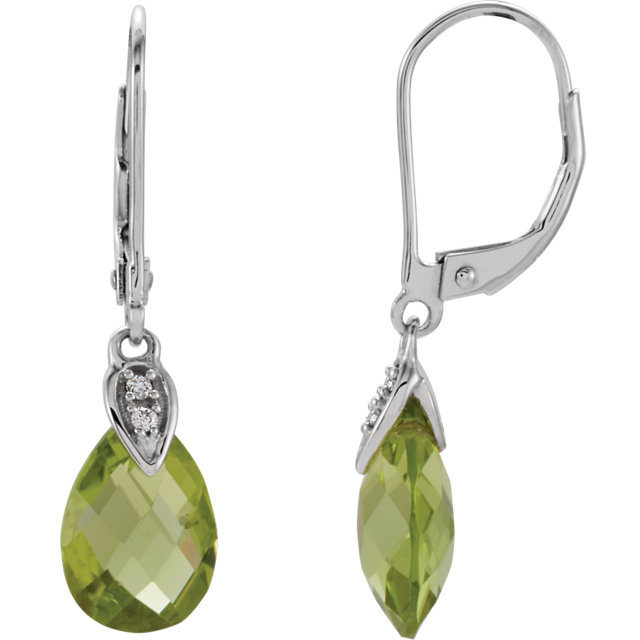 14KT White Gold Peridot & .025 Carat Total Weight Diamond Earrings