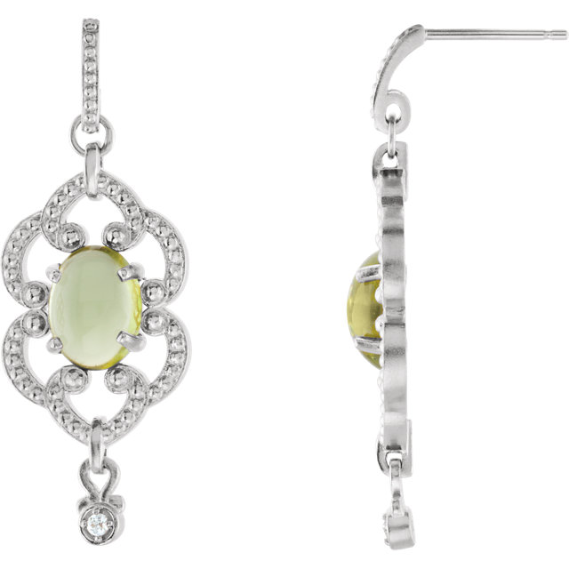14KT White Gold Peridot & .03 Carat Total Weight Diamond Earrings