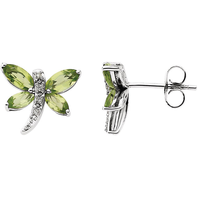14KT White Gold Peridot & .04 Carat Total Weight Diamond Earrings