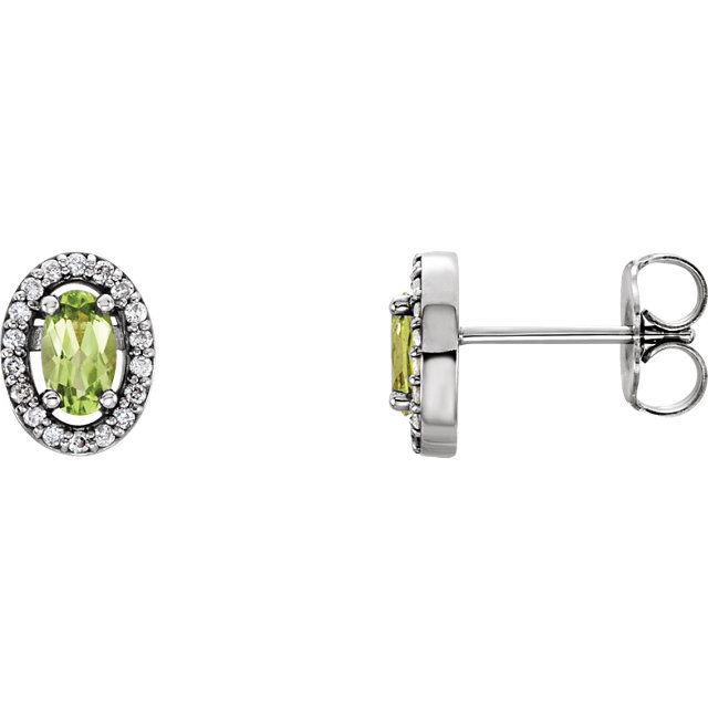14KT White Gold Peridot & .08 Carat Total Weight Diamond Earrings