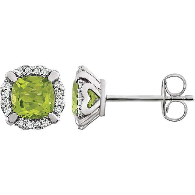 14KT White Gold Peridot & 1/10 Carat Total Weight Diamond Earrings