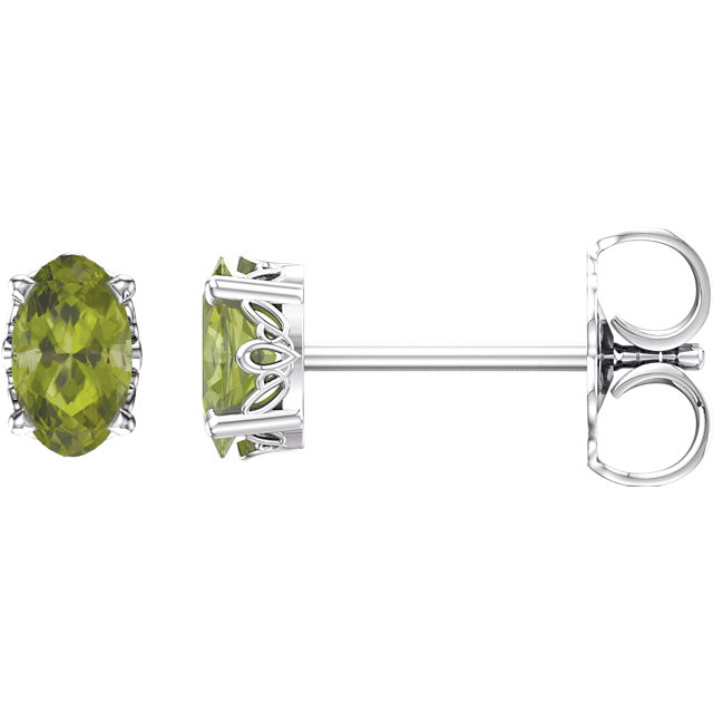 14KT White Gold Peridot Earrings