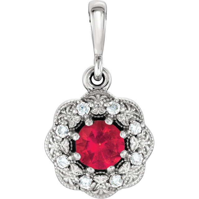 14KT White Gold Ruby & .06 Carat Total Weight Diamond Pendant