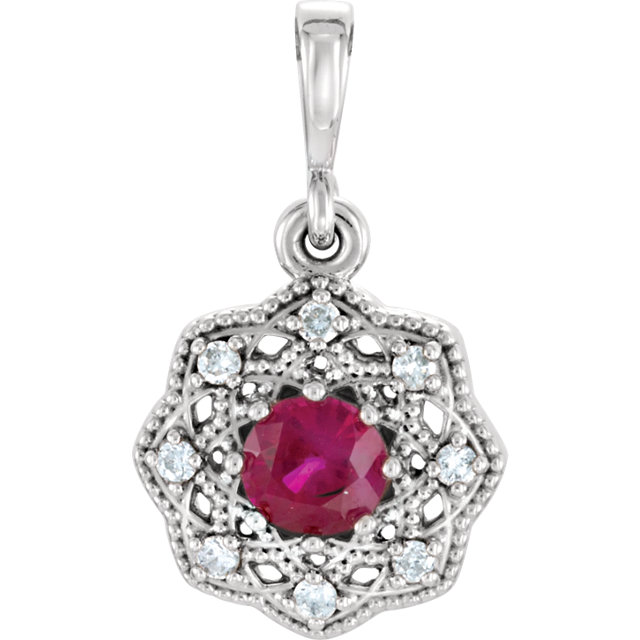 14KT White Gold Ruby & .06Carat Total Weight Diamond Halo-Style Pendant