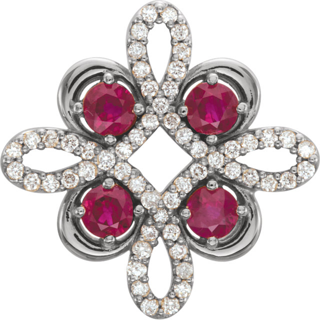 14KT White Gold Ruby & 1/6 Carat Total Weight Diamond Clover Pendant