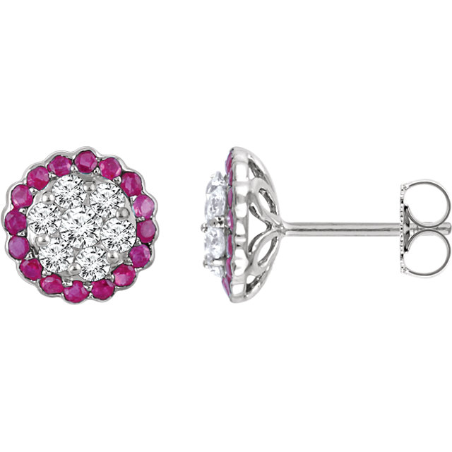 14KT White Gold Ruby & 5/8 Carat Total Weight Diamond Earrings