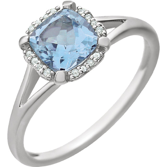 14KT White Gold Sky Blue Topaz & .05 Carat Total Weight Diamond Ring