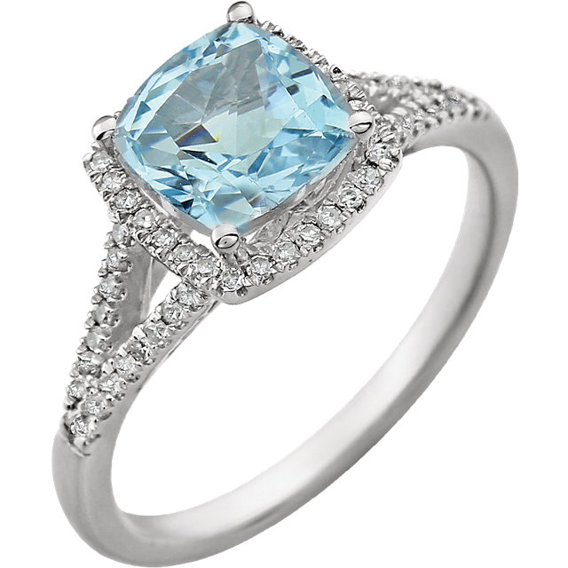 14KT White Gold Sky Blue Topaz & 1/5 Carat Total Weight Diamond Ring