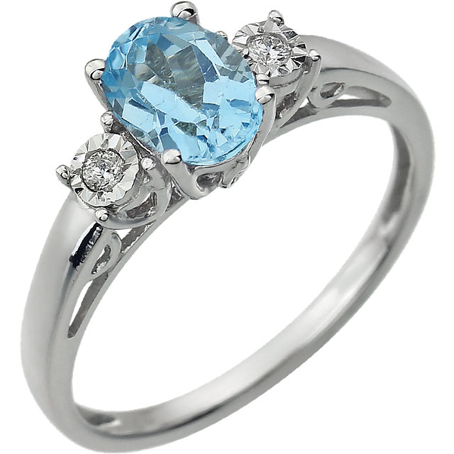 14KT White Gold Swiss Blue Topaz & .04 Carat Total Weight Diamond Ring