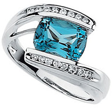 14KT White Gold Swiss Blue Topaz & 1/5 Carat Total Weight Diamond Ring