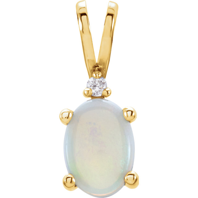 14KT Yellow Gold 1.3x5mm Opal & .01 Carat Total Weight Diamond Pendant
