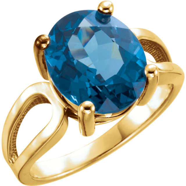 14KT Yellow Gold 12x10mm Oval London Blue Topaz Ring