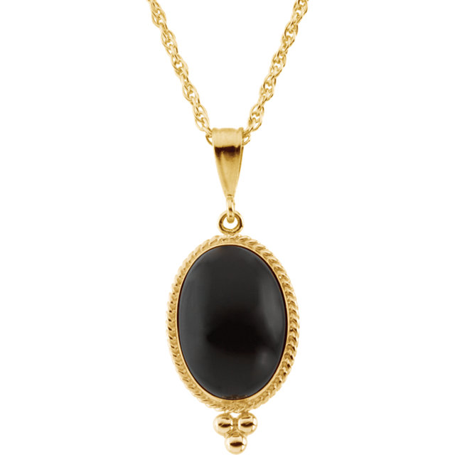 14KT Yellow Gold 14x10 Oval Onyx 18