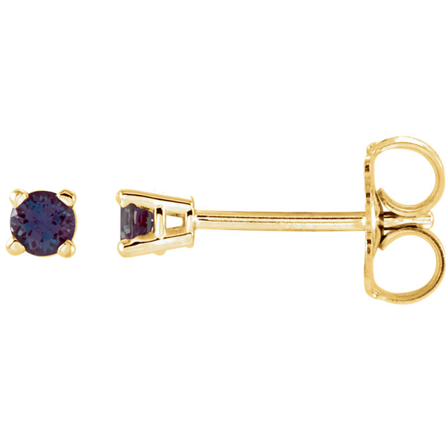 14KT Yellow Gold 2.5mm Round Chatham Created Alexandrite Earrings