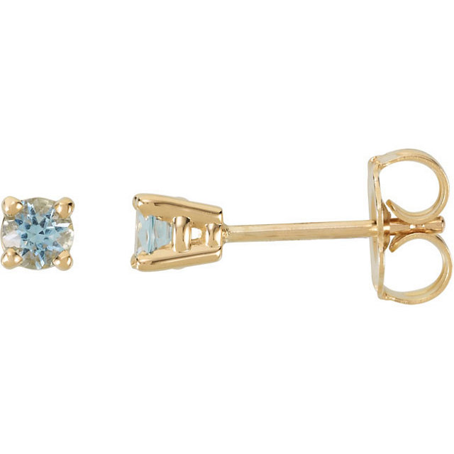 14KT Yellow Gold 3mm Round Aquamarine Friction Post Stud Earrings