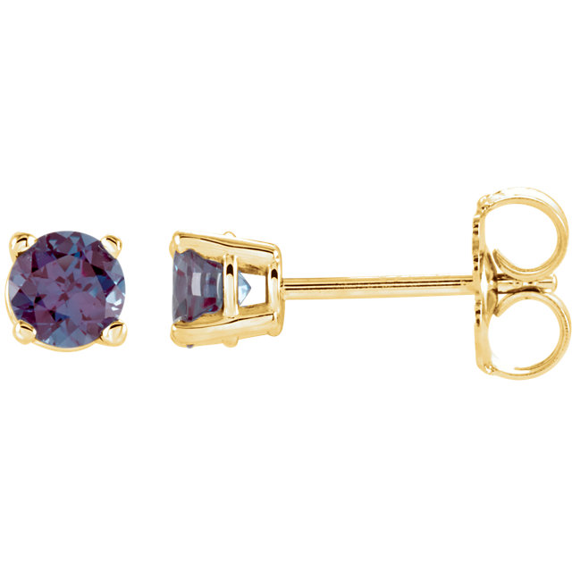 14KT Yellow Gold 4mm Round Chatham Created Alexandrite Earrings