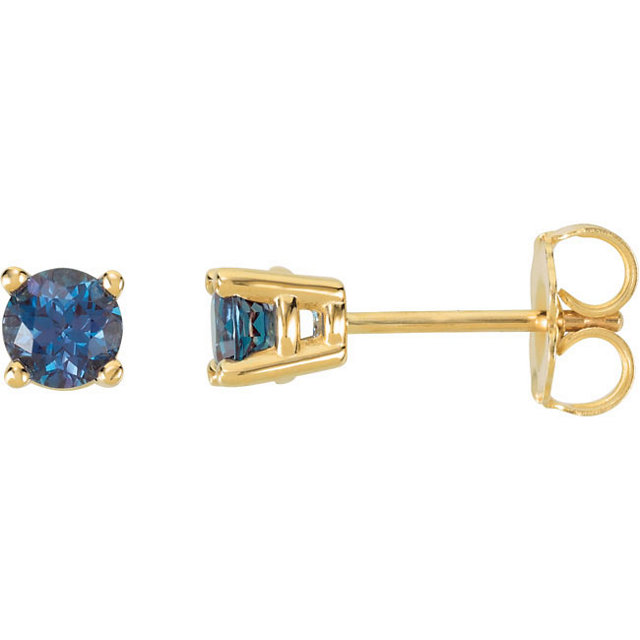 14KT Yellow Gold 4mm Round Chatham Created Alexandrite Friction Post Stud Earrings