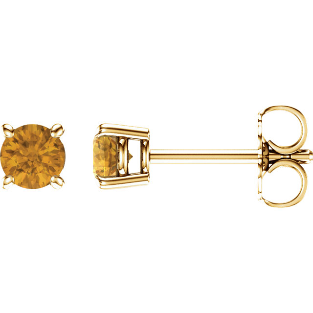 14KT Yellow Gold 4mm Round Citrine Earrings