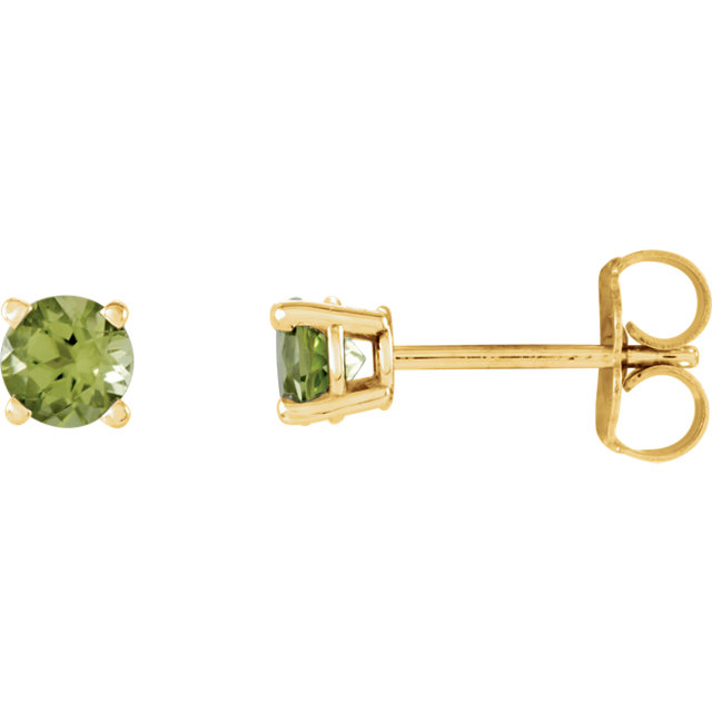 14KT Yellow Gold 4mm Round Peridot Earrings