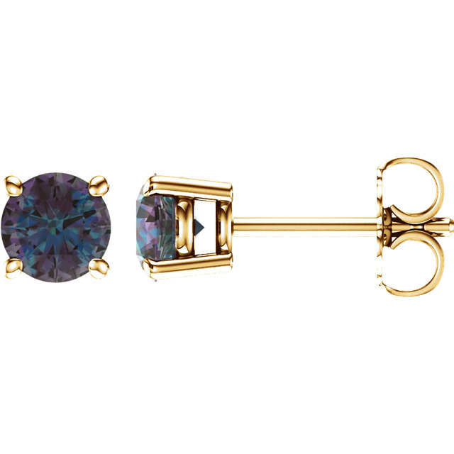 14KT Yellow Gold 5mm Round Chatham Created Alexandrite Earrings